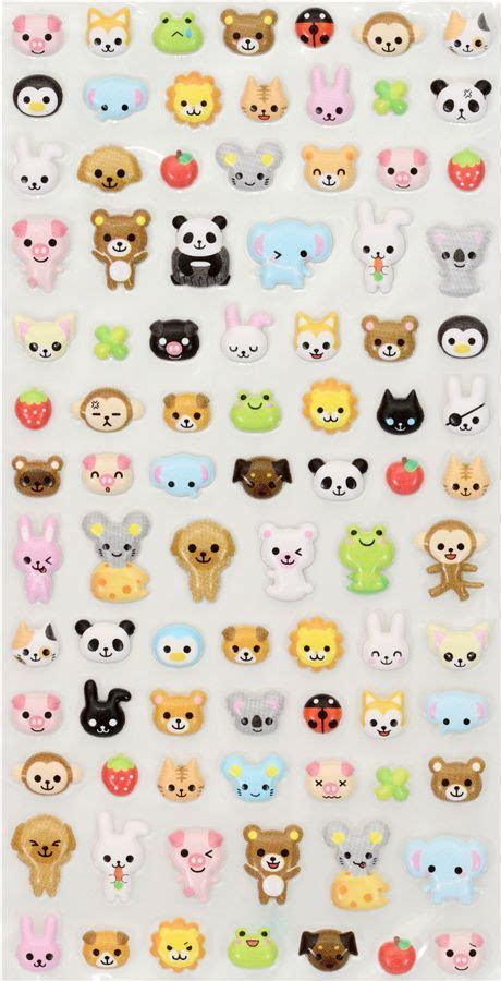 kawaii animals sponge sticker  lia  japan fimo