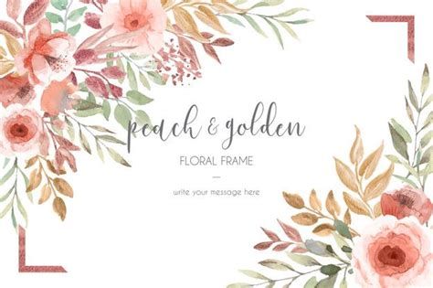 freebies peach  golden flower watercolor card template