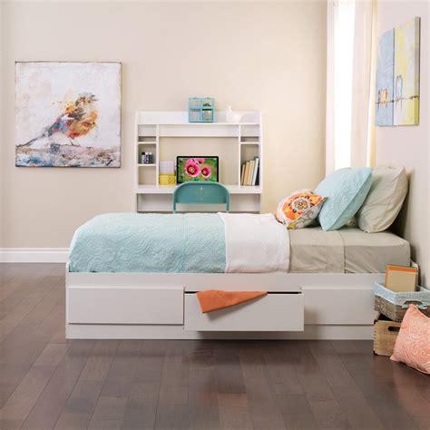 shop prepac furniture white twin platform bed  storage