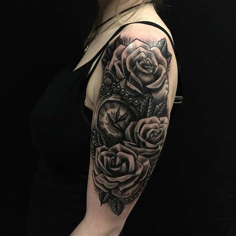 clock  roses tattoo rose tatoo