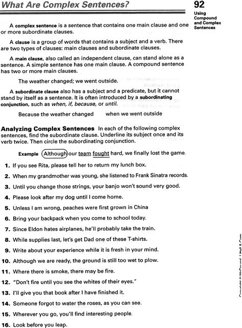 simple compound and complex sentences worksheet free