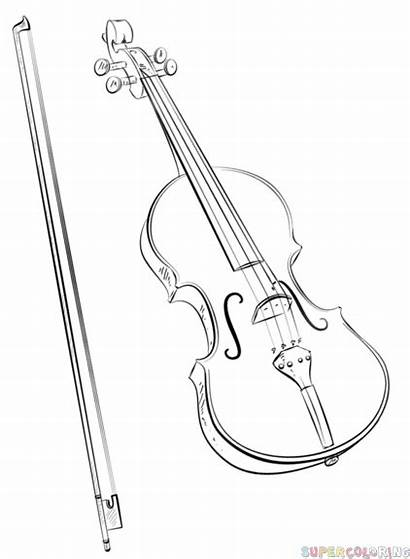 Violin Draw Bow Drawing Step Outline Instruments