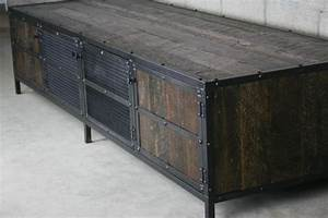 combine 9 industrial furniture reclaimed wood media With dark wood media console
