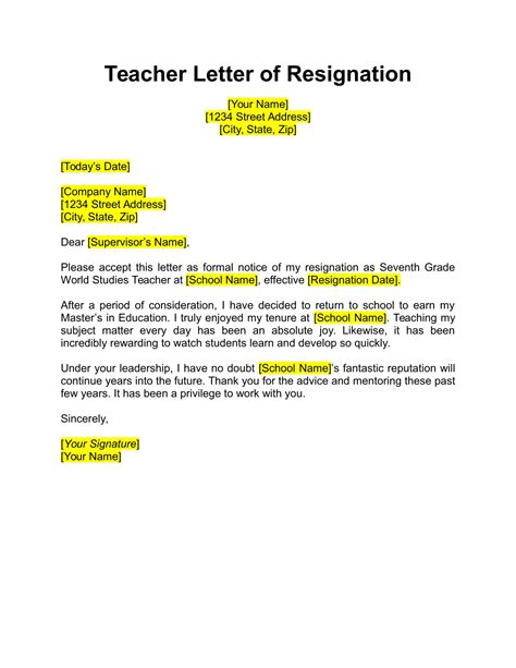 resignation letter   examples