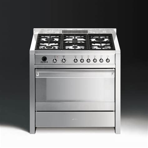 smeg gas range cookers smeg opera a1 7 dual fuel 90cm range cooker stainless steel with chrome trim
