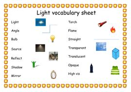 science light vocabulary word mat by rexinstead teaching resources