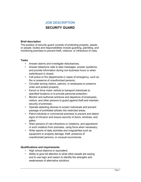 security officer duties and responsibilities 100 security officer responsibilities resume