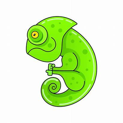 Chameleon Cartoon Illustration Vector Icon Walking Cartoons