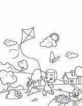 Kite Flying Drawing Boy Dog Template Coloring Wiosna Sketch sketch template
