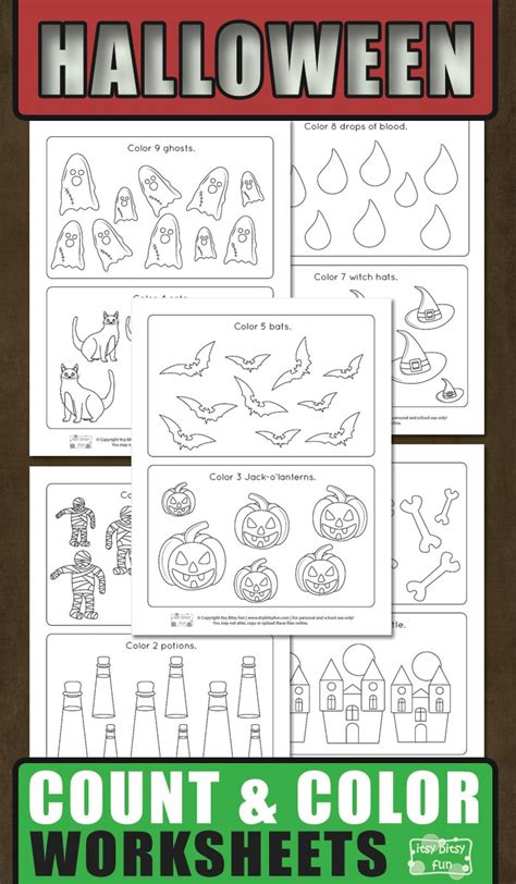 halloween count  color worksheets itsy bitsy fun