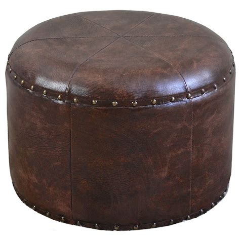Faux Leather Round Ottoman In Ottomans