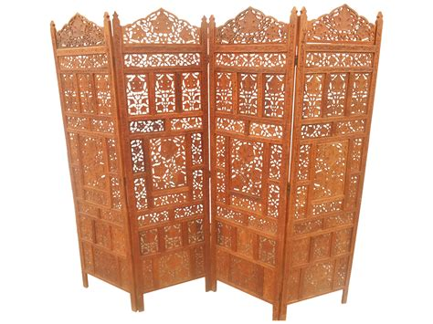 Solid Teak Pierce Carved Room Divider Chairish