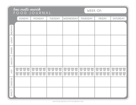food and exercise journal template a matter of discipline free weekly food journal