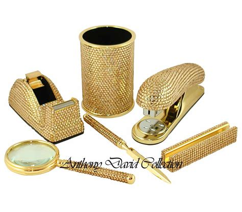 gold desk organizer set crystal desk accessories crystal writing pens and