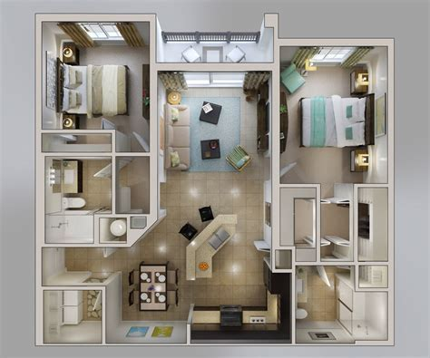 """50 Two """"2"""" Bedroom Apartment/House Plans   Architecture"""