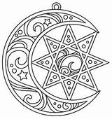 Coloring Pages Star Moon Adult Urban Embroidery Patterns Designs Paper Printable Pentacle Urbanthreads Threads Stitch Pentagram Mandala Swirly Captured Awesome sketch template