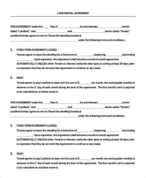Land Rental Agreement Template by 13 Blank Rental Agreement Templates Free Sle