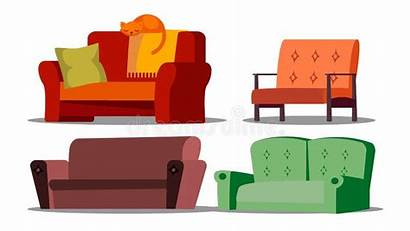 Vector Cushioned Armchair Illustration Furniture Divan Cozy
