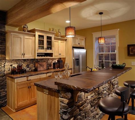 Outstanding Rustic Kitchen Island Table With Natural Stone