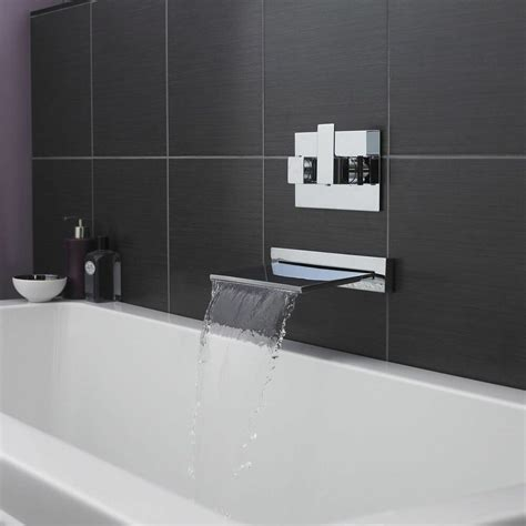 Wall Mounted Bath Filler And Shower by Hudson Reed Modern Chrome Wall Mounted Bath Tub Waterfall