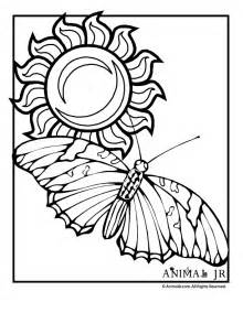 Sun Coloring Page with Butterfly