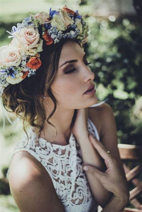 flower crown hairstyles   bride mywedding