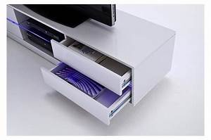 Meuble Tv Led Blanc Laqué : meuble tv design blanc laqu led bleu cbc meubles ~ Teatrodelosmanantiales.com Idées de Décoration