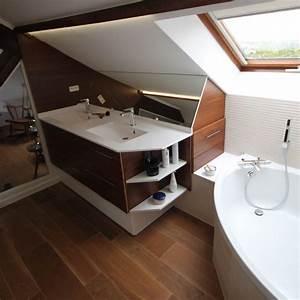 salle de bain dans combles salle de bain sous combles With meuble de salle de bain sous pente