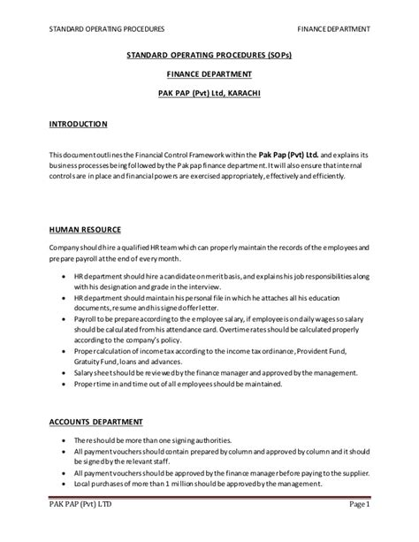 Warehouse Sop Template by Warehouse Standard Operating Procedures