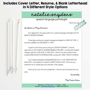 Editable Resume Cover Letter by Slp Resume And Cover Letter Templates Fully Editable