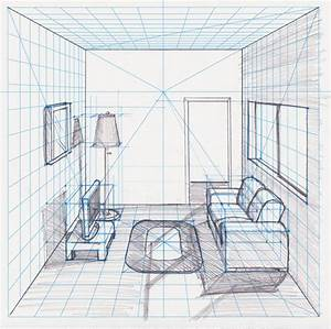 Dining Room Drawn Using One Point Perspective Interior ...