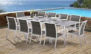 Salon De Jardin 10 Places : salon de jardin 10 places blanc et gris perle table et 10 fauteuils ~ Teatrodelosmanantiales.com Idées de Décoration