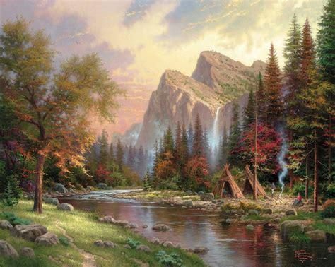 mountains declare  glory thomas kinkade painting