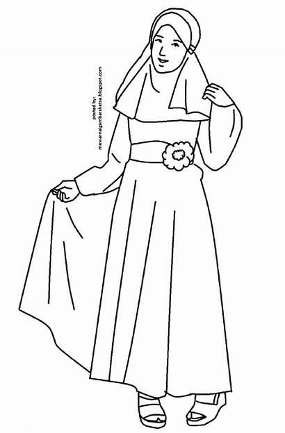 Mewarnai Gambar Princess Baju Muslimah Coloring Kartun