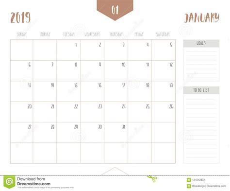 vector calendar january simple clean table style stock