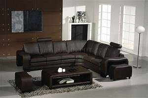 3330 espresso leather modern sectional sofa w coffee table With canapé cuir convertible avec tapis casa