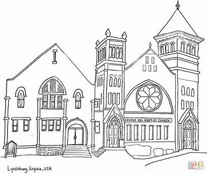 Coloring Church Hill Pages Drawing Baptist Virginia