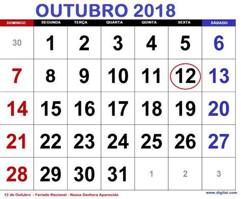 calend 193 outubro 2018 feriados nacionais e fases da lua 2018 digitei