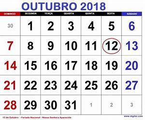 CALENDÁRIO OUTUBRO 2018 COM FERIADOS NACIONAIS E FASES DA
