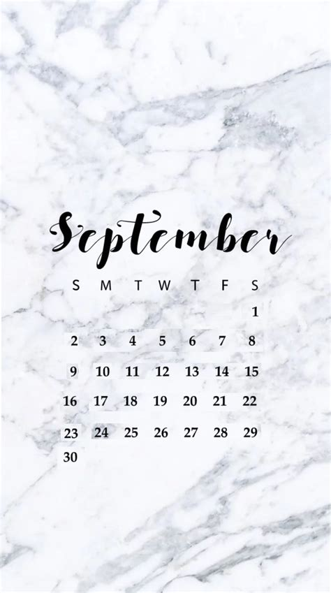 september  iphone wallpaper calendar calendar