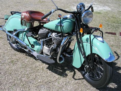 Old Indian Teal Chief Motorcycle Antique Classic Cruiser