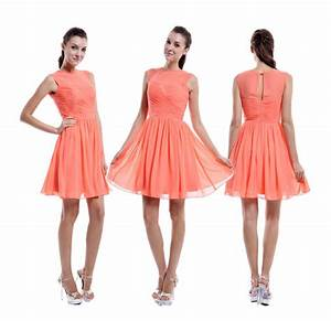 Coral bridesmaid dress with sheer top coral chiffon for Teenage wedding guest dresses