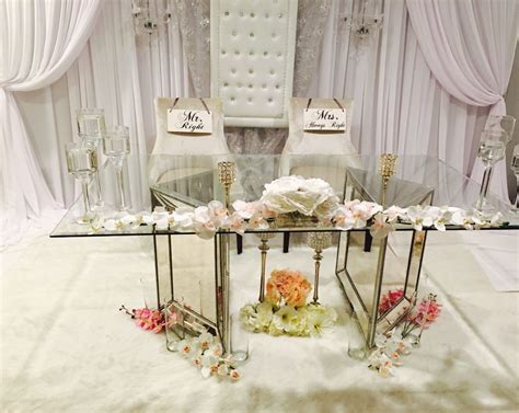 Wedding Backdrop And Glass Mirrored Sweetheart Table