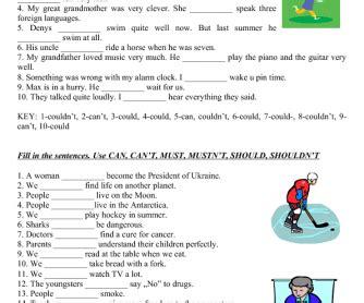 modal verb practice elementary level