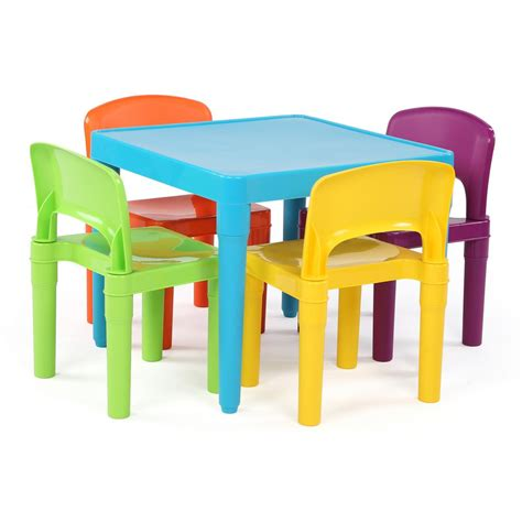 plastic table and chairs tot tutors playtime 5 piece aqua kids plastic table and