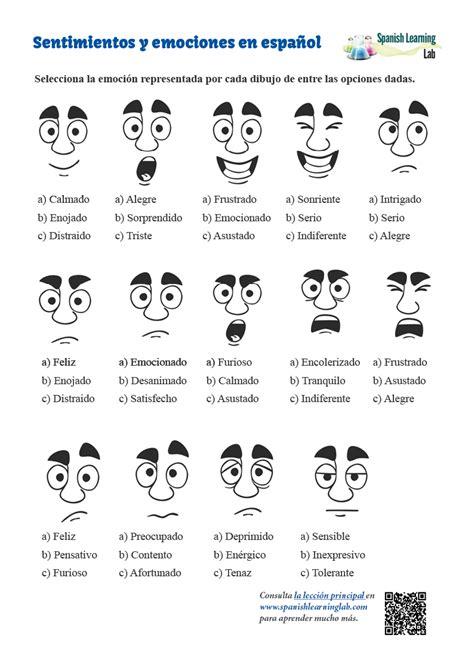 adjectives  feelings  emotions spanish worksheet