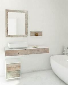 Meuble Salle De Bain Bois Et Blanc : id e d coration salle de bain meuble vasque salle de bain en bois patin et blanc mat ~ Teatrodelosmanantiales.com Idées de Décoration