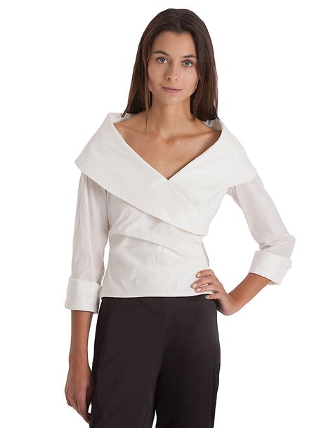 collar blouse js collections shawl collar surplice blouse in white lyst