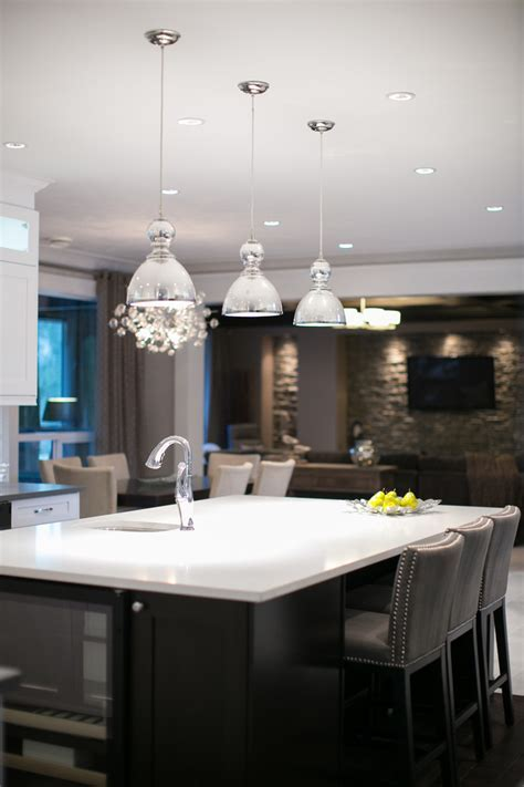 mercury glass pendant Kitchen Contemporary with Cabinetry