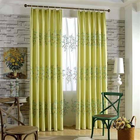 yellow embroidery blackout curtain for living room